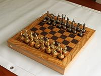 Шахматы Manopoulos Оливковый совет Троянская война латунь в деревянном футляре 41см х 41см