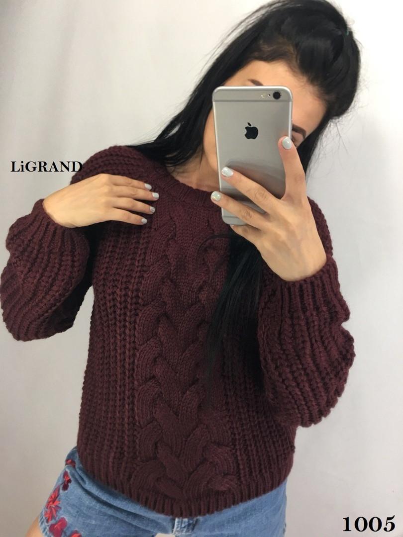 Женский объемный вязаный свитер из полушерсти с узором 82ddet588