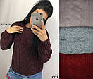 Женский объемный вязаный свитер из полушерсти с узором 82ddet588, фото 2