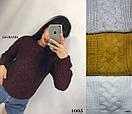 Женский объемный вязаный свитер из полушерсти с узором 82ddet588, фото 3