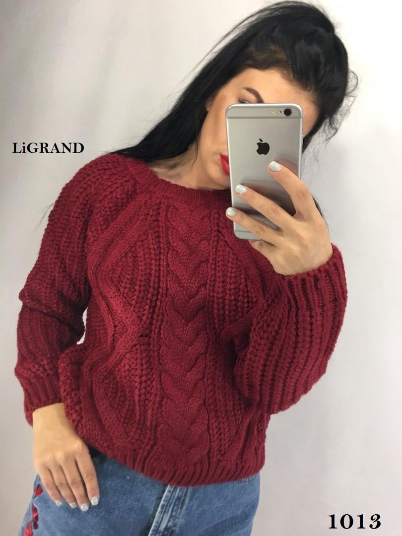 Женский вязаный свитер из объемной вязки с рукавом регланом 82ddet589