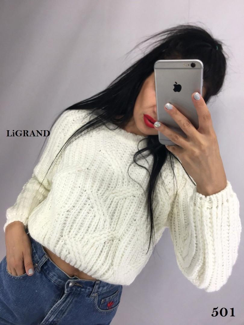 Укороченный женский вязаный свитер из объемной вязки 82ddet590
