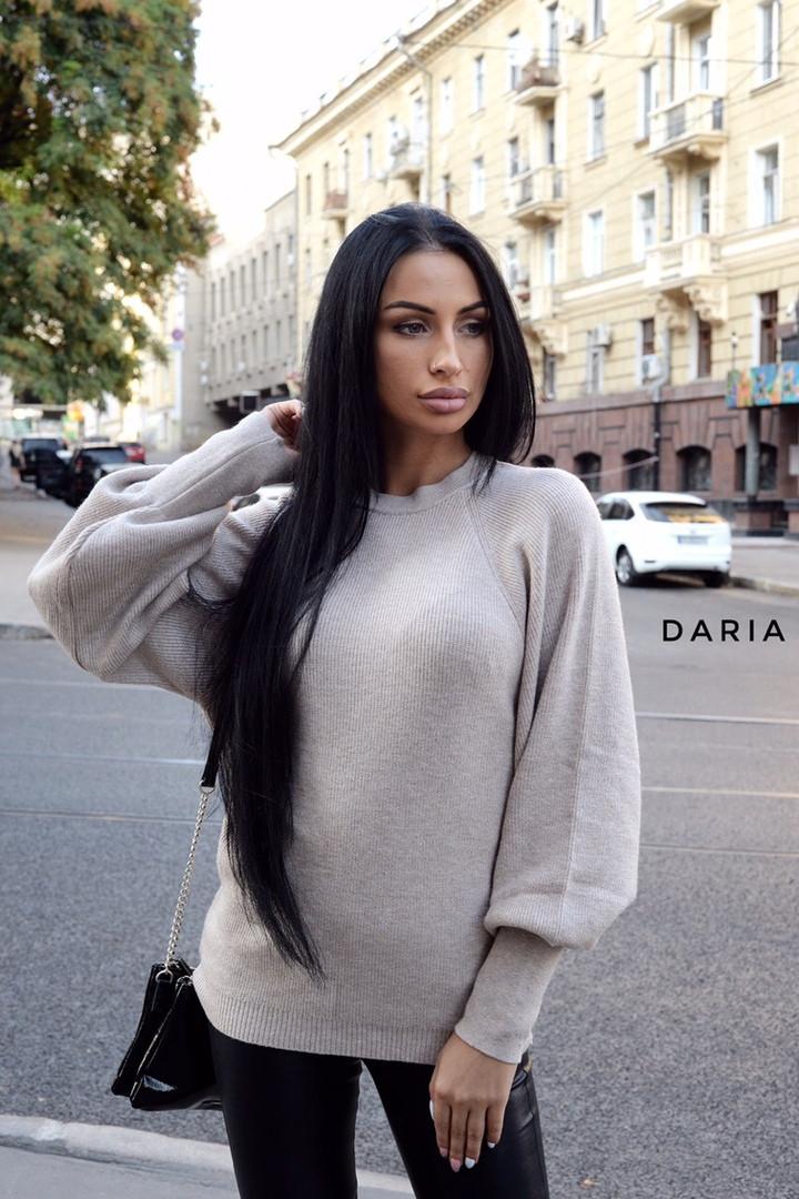 Женский вязаный свитер с рукавами - фонариками и широкими манжетами 55ddet600