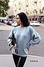 Женский вязаный свитер с рукавами - фонариками и широкими манжетами 55ddet600, фото 3