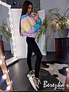 Женская цветная короткая куртка на молнии с воротником-стойкой 66kur134Е, фото 3