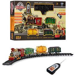 Железная дорога на радиоуправлении  локомотив 27см 2 вагона 21 деталь дым