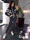 Теплый женский спортивный костюм с бомбером на молнии и штанами на манжетах 66spt738Q, фото 3