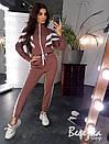 Теплый женский спортивный костюм с бомбером на молнии и штанами на манжетах 66spt738Q, фото 4