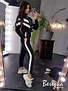 Теплый женский спортивный костюм с бомбером на молнии и штанами на манжетах 66spt738Q, фото 5