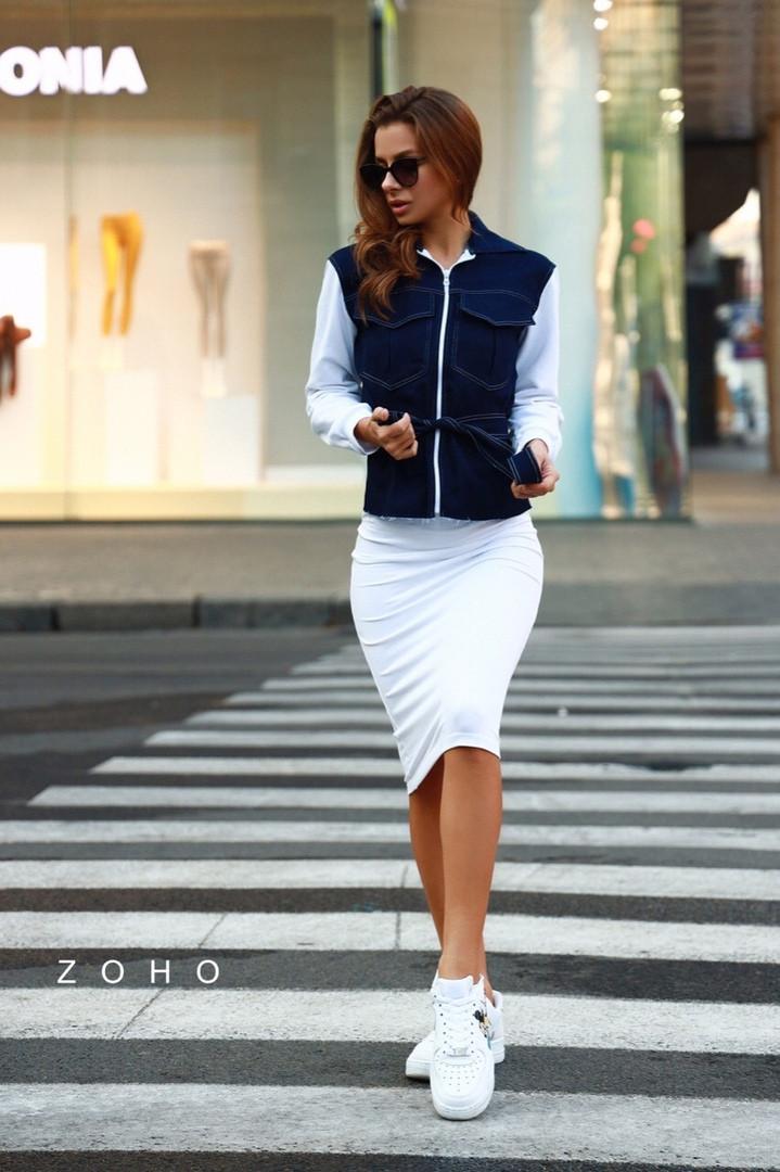 Женский юбочный костюм с джинсовым верхом и юбкой - карандаш 80kos194