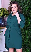 Платье-рубашка зеленое большого размера 8512423-4