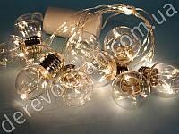 """Led-гирлянда для декора """"Лампочки"""", 10 ламп, 2.55 м (теплый свет)"""