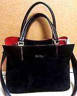 Женская черная с красным сумка Zara из натурального замша 30*22 см
