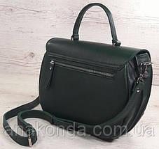 584 Натуральная кожа Сумка женская зеленая Кожаная сумка зеленая кожаная сумка кожаная зеленая изумрудная, фото 3