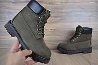 Женские зимние ботинки в стиле Timberland коричнево-болотные нубук/мех 37 (23,5 см)