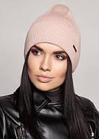 Женская вязаная шапочка ELSA FLIP UNI светлая пудра