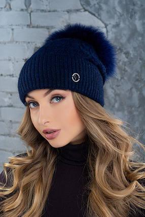 Шапка женская с большим помпоном Flirt Вита One Size синяя, фото 2