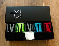 Набор нижнего белья Calvin Klein | Мужские трусы Кельвин Кляйн | 5 Ярких боксерок в коробочке | Реплика