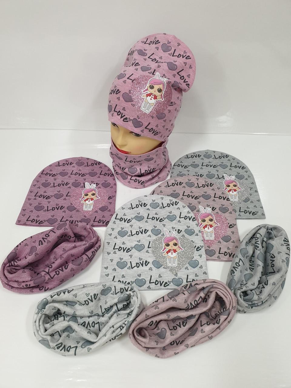 Детские демисезонные вязаные шапки со снудом для девочек оптом, р.50-52, ANPA (Польша)