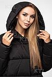 Модний довгий жіночий пуховик, матовий чорний, фото 3