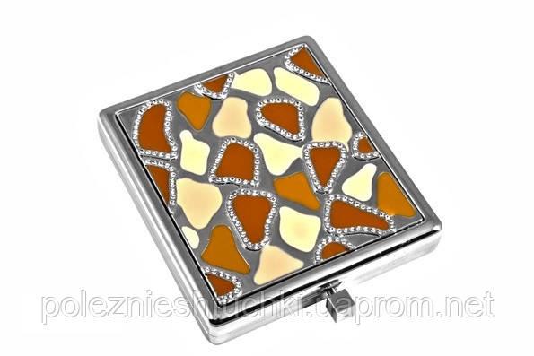 """Зеркало карманное квадратное 6х6 см. """"Jardin d'ete"""" коричневое, металлическое со стразами"""