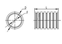 Труба гофрированная номинальный диаметр 12 мм, V2, D 12,2/15,8мм (вн/нар), полиамид 6, цвет чёрный, с протяжкой (бухта 50 м), DKC, PA611216F2