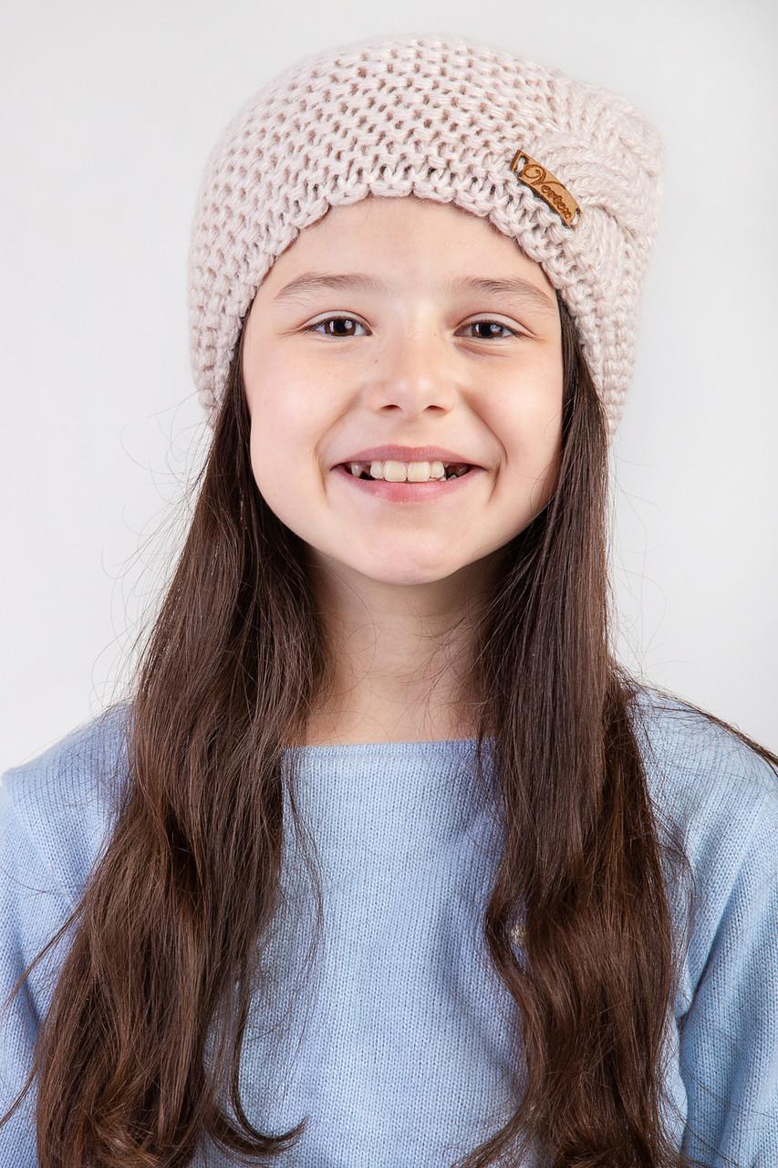 Вязанная зимняя женская шапка с подкладкой из флиса  - Артикул 2455