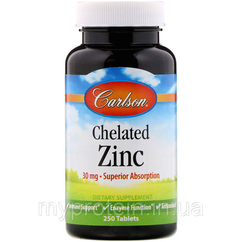 Carlson Labs	Цинк	Chelated Zinc 30 mg	250 tabs