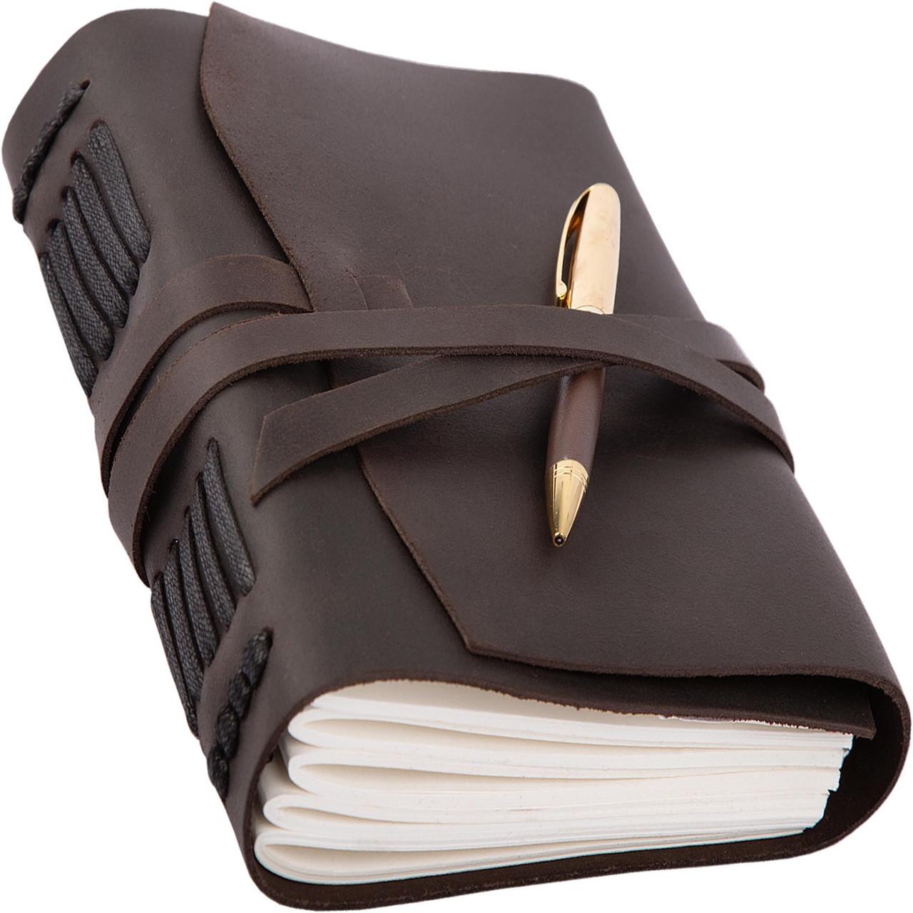 Блокнот кожаный COMFY STRAP темно-коричневый с ручкой А5 (20,5х15,0х4,0 см)