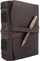 Блокнот кожаный COMFY STRAP темно-коричневый с ручкой А5 (20,5х15,0х4,0 см), фото 2