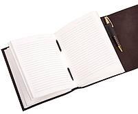 Блокнот кожаный COMFY STRAP темно-коричневый с ручкой А5 (20,5х15,0х4,0 см), фото 5