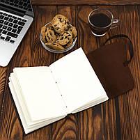 Блокнот кожаный COMFY STRAP темно-коричневый с ручкой А5 (20,5х15,0х4,0 см), фото 6