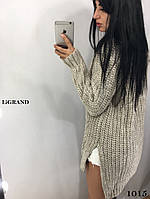 Удлиненный женский вязаный свитер из объемной вязки 82dmde591