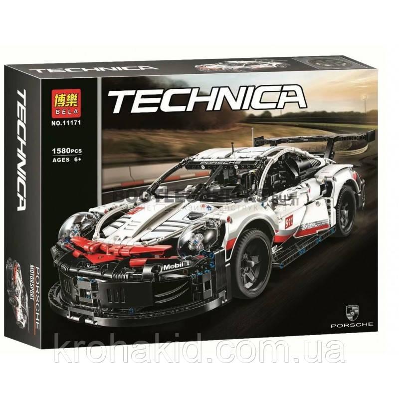 """Конструктор Bela 11171 """"Porsche 911 RSR"""" 1580 деталей. Аналог Lego Technic 42096"""