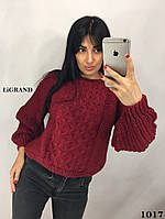 Женский вязаный свитер в рукавом фонариком от горловины 82dmde599, фото 1