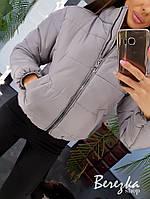 Короткая женская теплая куртка с воротником стойкой и молнией 66mku136Е, фото 1