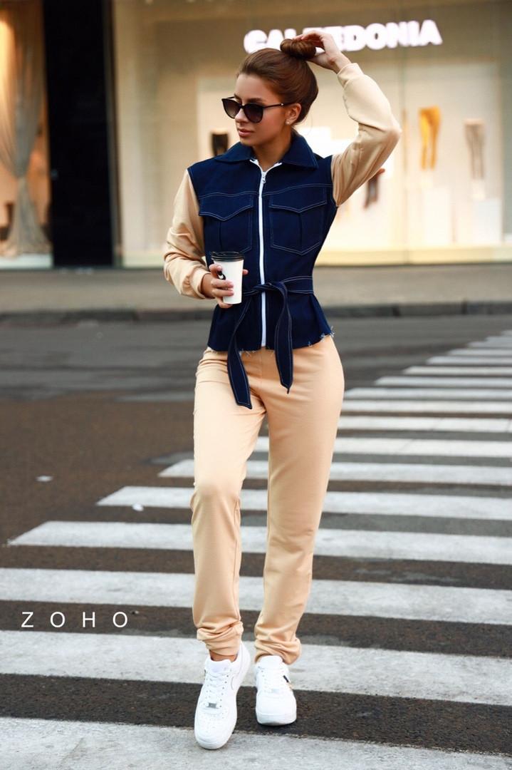 Женский брючный костюм с джинсовой кофтой и штанами на манжетах 80mko195, фото 1