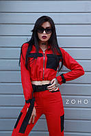 Женский костюм милитари с укороченным бомбером на молнии и штанами с ремешками 80mko196, фото 1