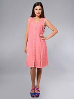 Платье -халат, розовое, хлопок, Индия, на 44-52 размеры