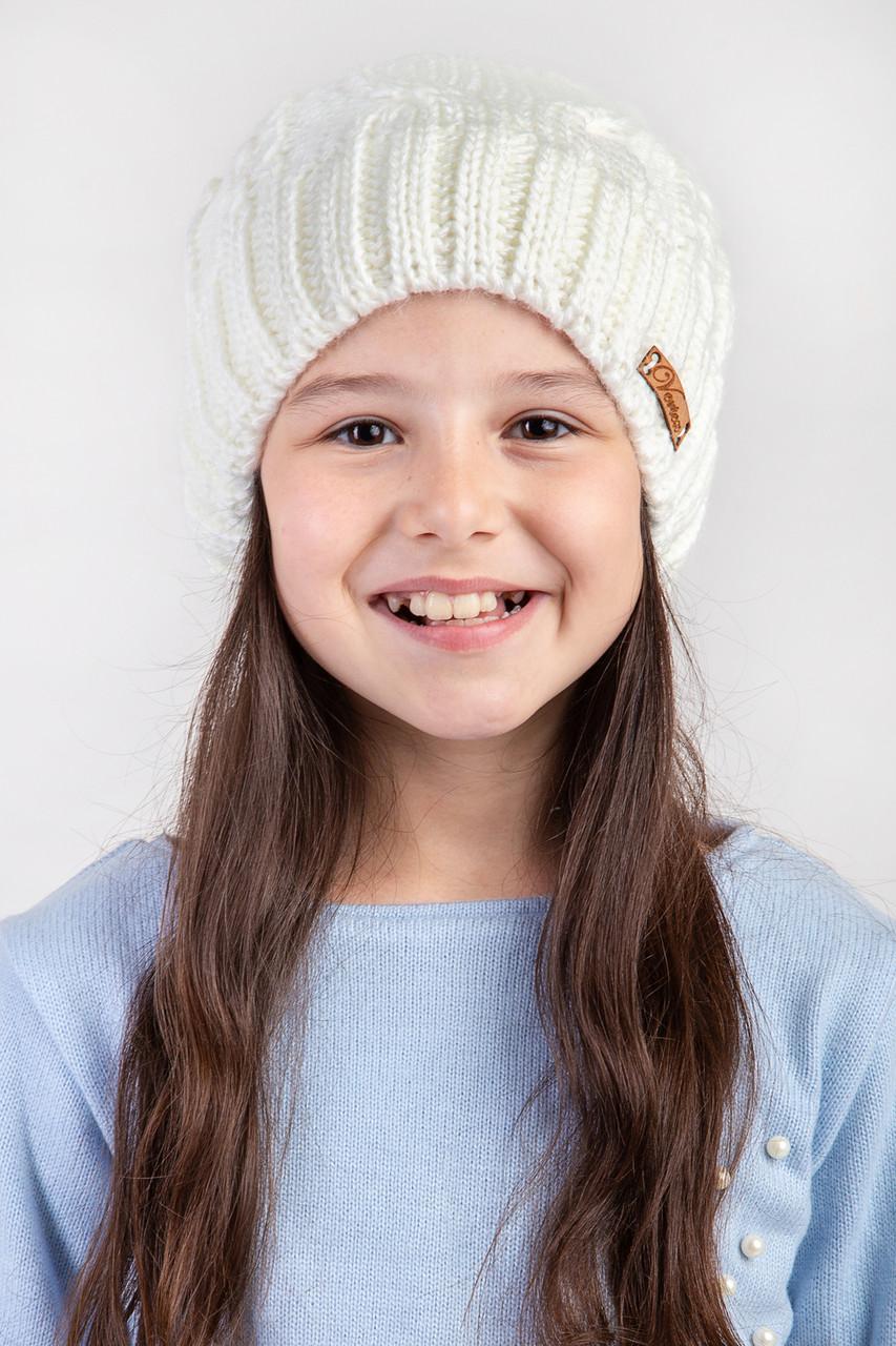 Вязанная зимняя  шапка для девочки с подкладкой из флиса  - Артикул 2473