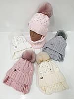 Детские вязаные шапки на флисе оптом с шарфом, завязками и помпоном для девочек, р.44-46, Agbo (Польша)