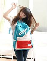 Школьный  Молодежный Стильный Рюкзак  В наличии!! Цвет Голубой+Красный,Оригинал,Фабричный!, фото 1