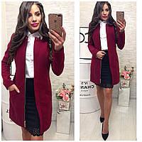 Утеплённое кашемировое женское пальто, арт 739/2, цвет бордо