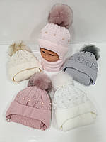 Детские вязаные шапки на флисе оптом с шарфом, завязками и помпоном для девочек, р.42-44, Agbo (Польша)