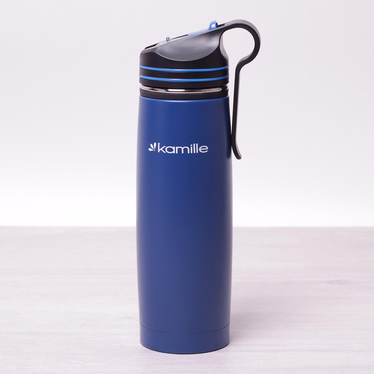 Спортивный термос-бутылка Kamille 500мл из нержавеющей стали с трубочкой и клипсой для крепления