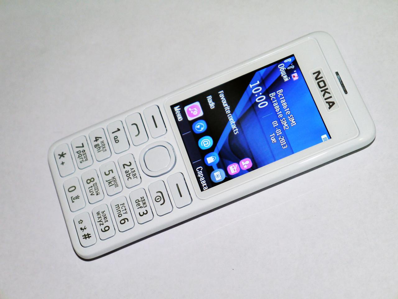 Телефон NOKIA Asha 206 Белый - 2Sim+Cam+BT+FM