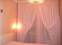 Готовые Шторы комплект для спальни из легкой ткани вуаль розовая 4 м.