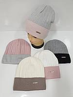 Подростковые вязаные шапки на флисе оптом для девочек, р.50-52, Ambra (Польша)