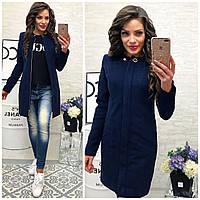 Утеплённое кашемировое женское пальто, арт 739/2, цвет тёмно синий