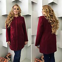 Утеплённое кашемировое женское пальто, арт 739/2, цвет вишня